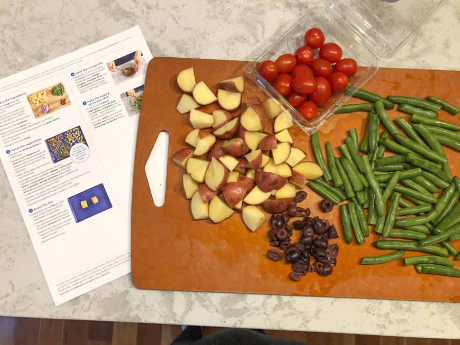 blue apron meal in the making