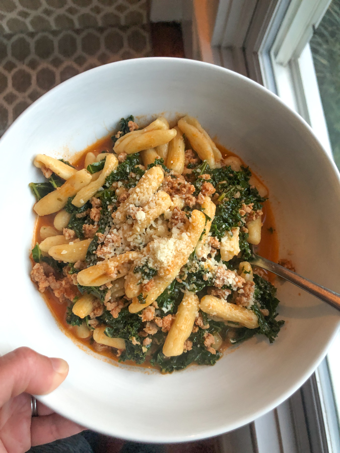 blue apron pasta with kale and sausage