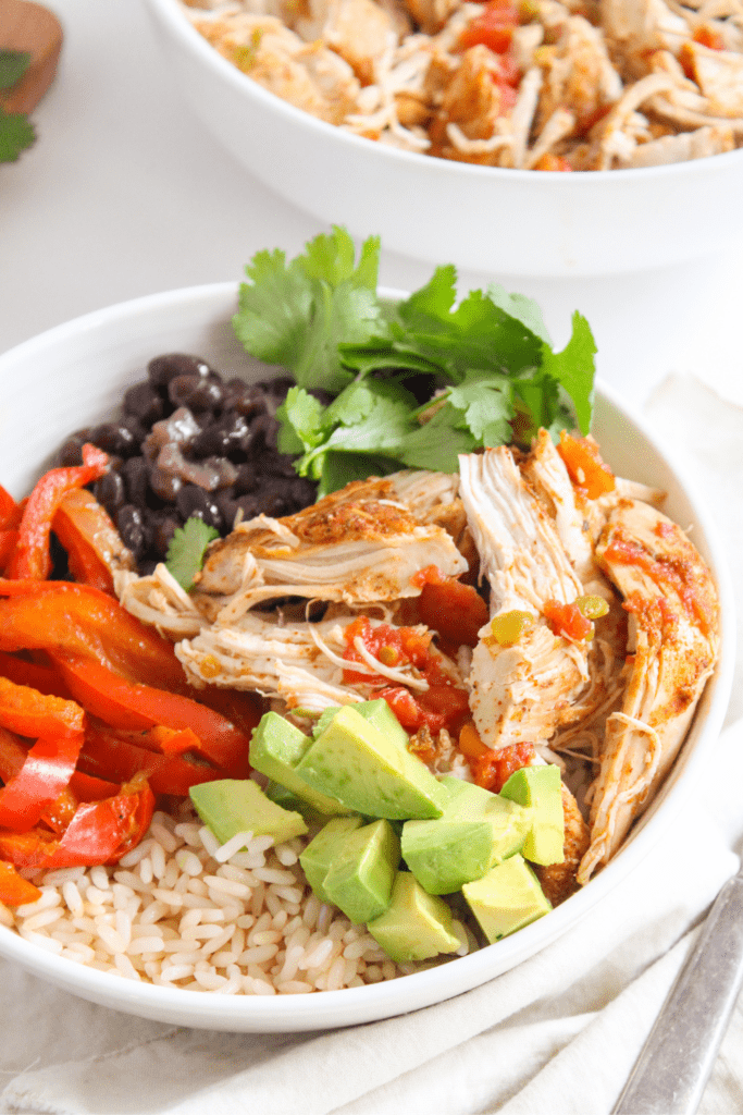 Instant Pot Mexican chicken close up in a burrito bowl