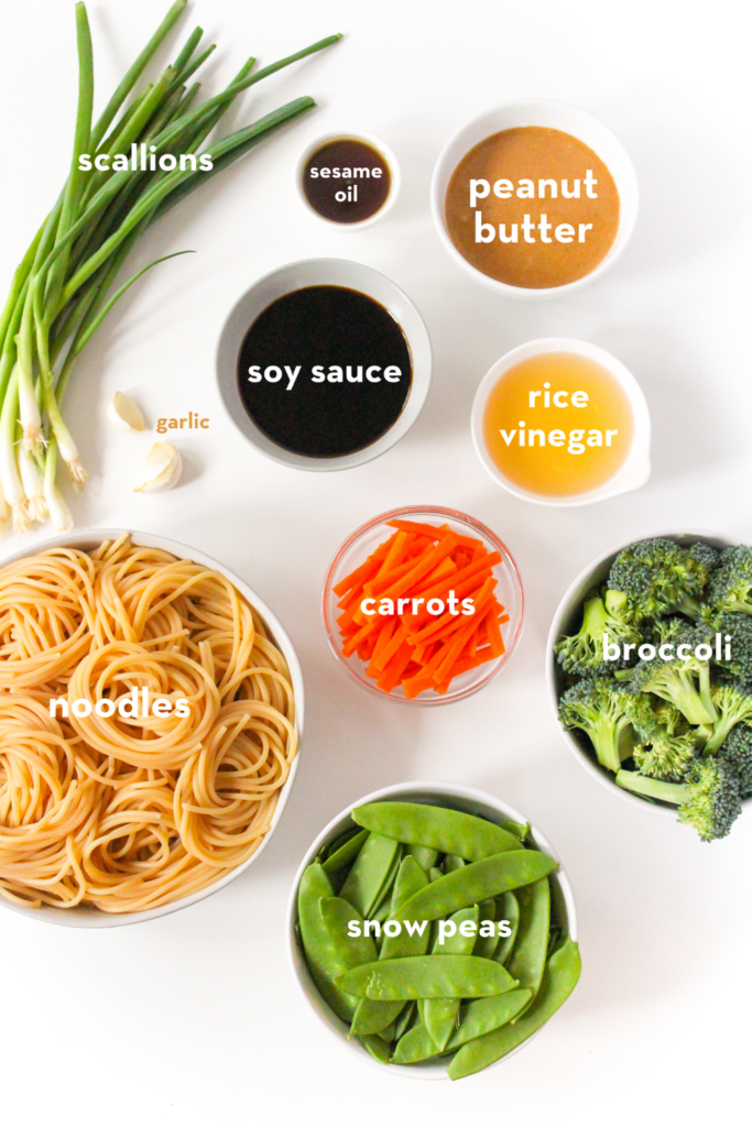 ingredients for peanut butter pasta with veggies