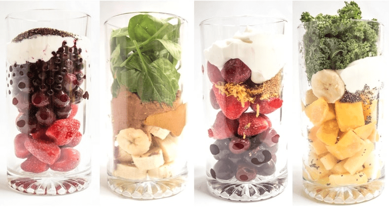 smoothie ingredients in tall glass jars