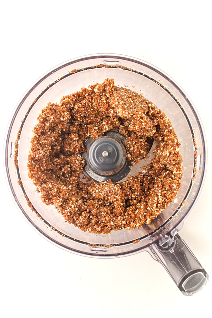 no bake vanilla protein balls process shot - food processor
