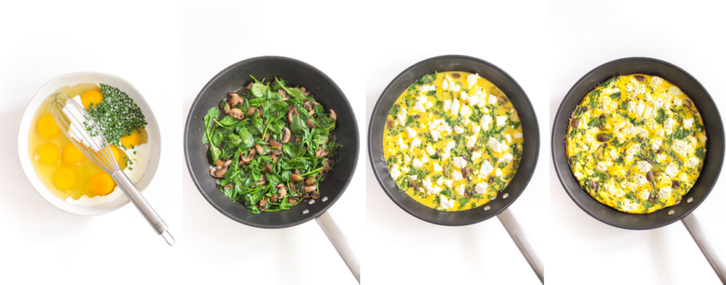 goat cheese frittata with veggies cooking process shots
