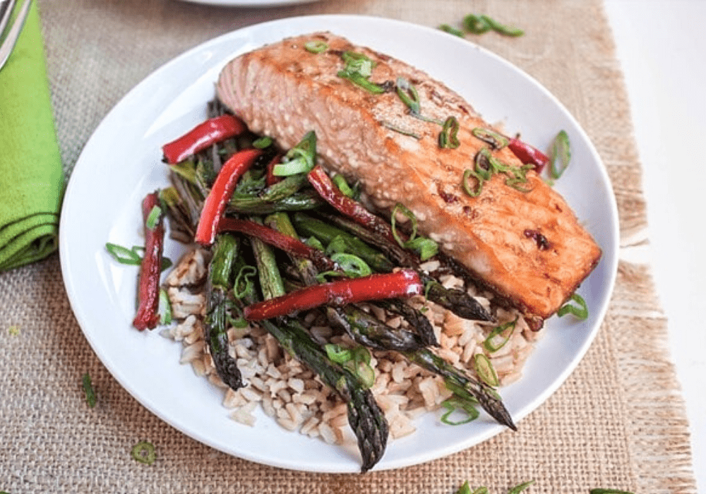 ginger soy salmon with veggies