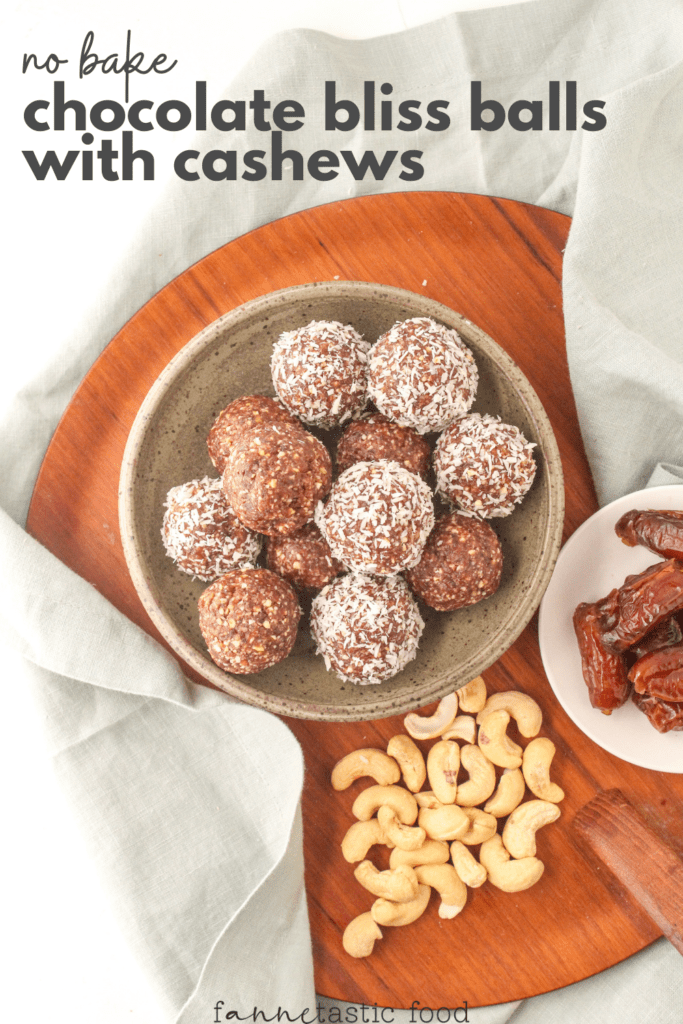 no bake chocolate bliss balls with cashews and dates