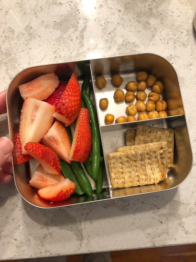 dried chickpeas, strawberries and beans, crackers