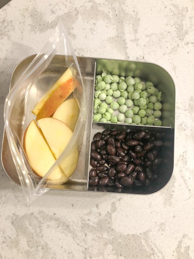 black beans, dried peas, apples