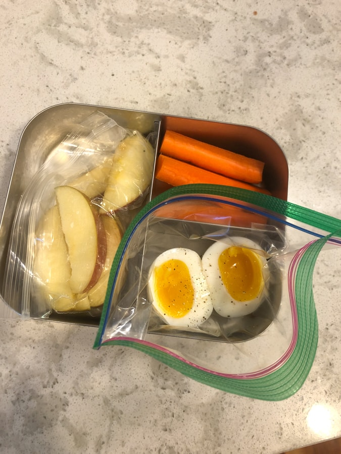 apples, carrots, medium boiled egg