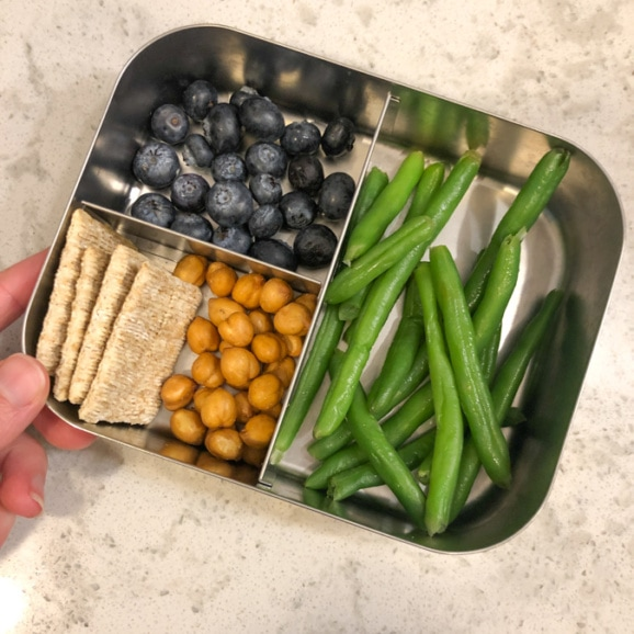 blueberries, string beans, crackers, dried chickpeas