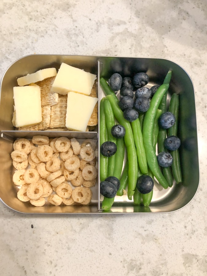 cheese and crackers, power o's, blueberries, string beans