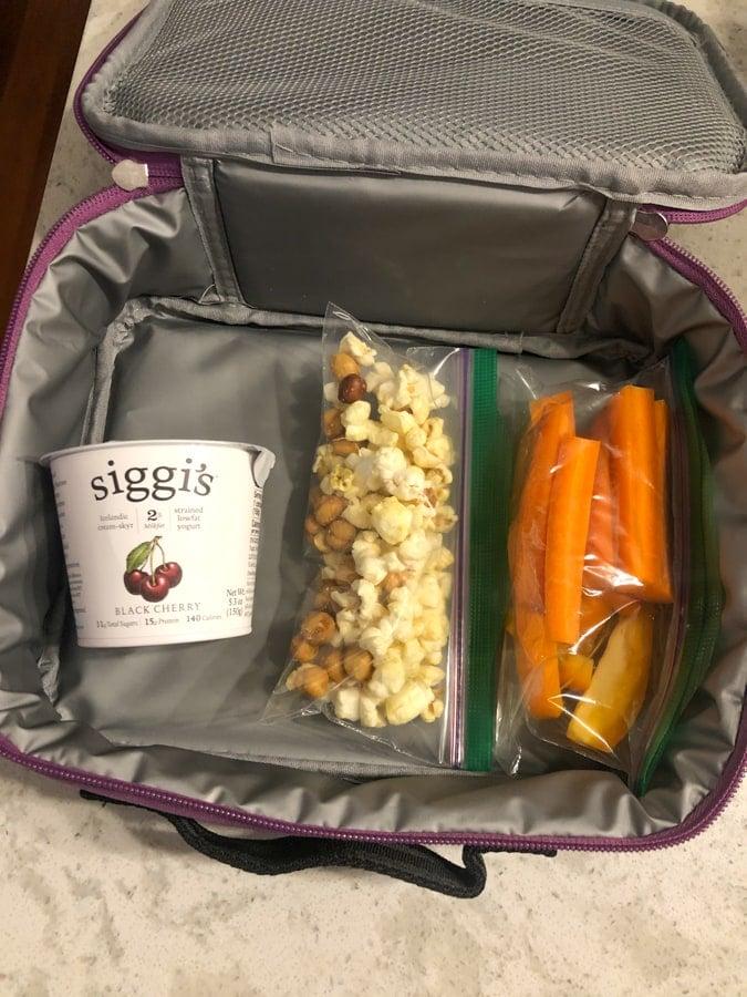 siggi's yogurt, popcorn and chickpeas, carrots