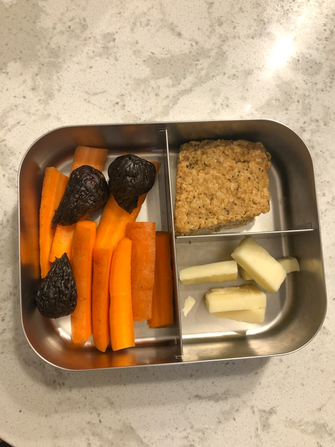 figs and carrots, bobo's, cheese