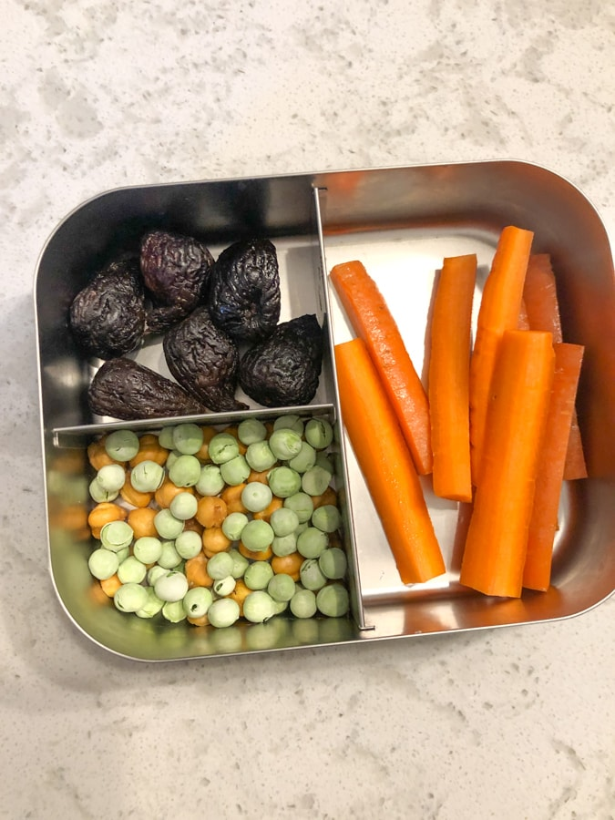 dried figs, dried peas and chickpeas, carrots