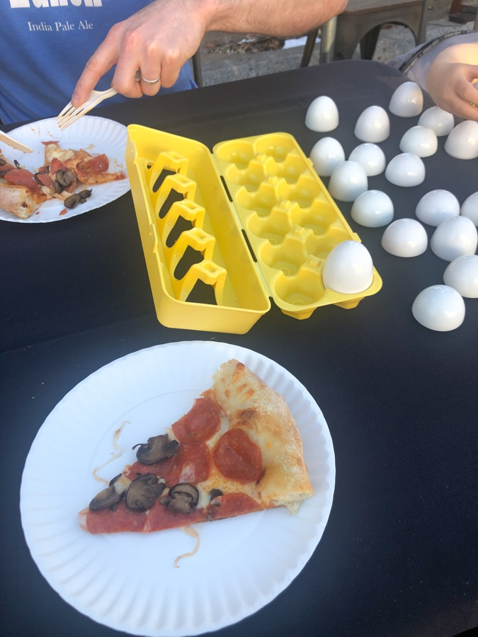 egg crate game for entertaining toddlers at restaurants