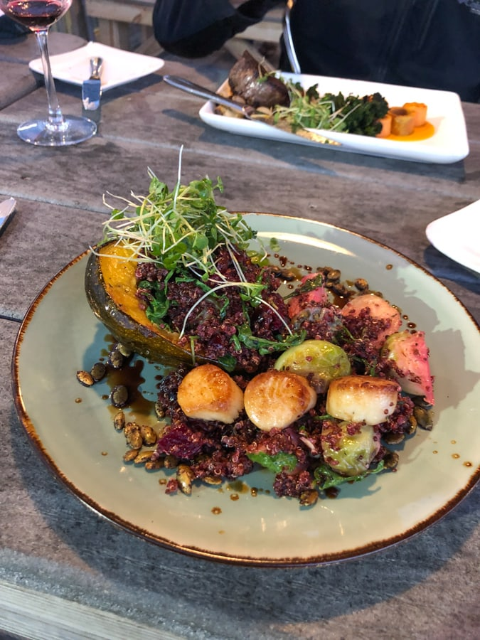 quinoa dish with scallops at Aqua restaurant in Duck NC