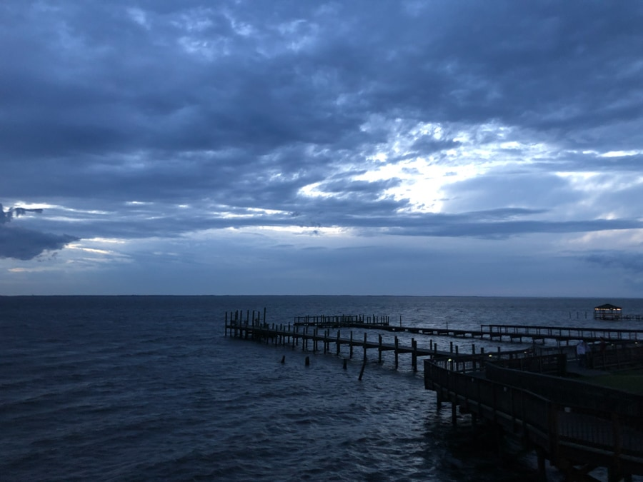 stormy skies over the boardwalk in Duck NC