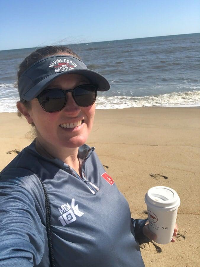 walking along the beach with green tea