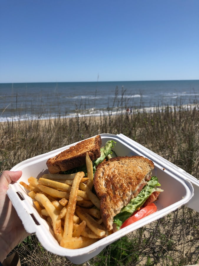 takeout lunch from the sanderling resort - club sandwich and fries