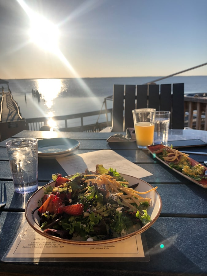 dinner salad with a sunset view at NC coast