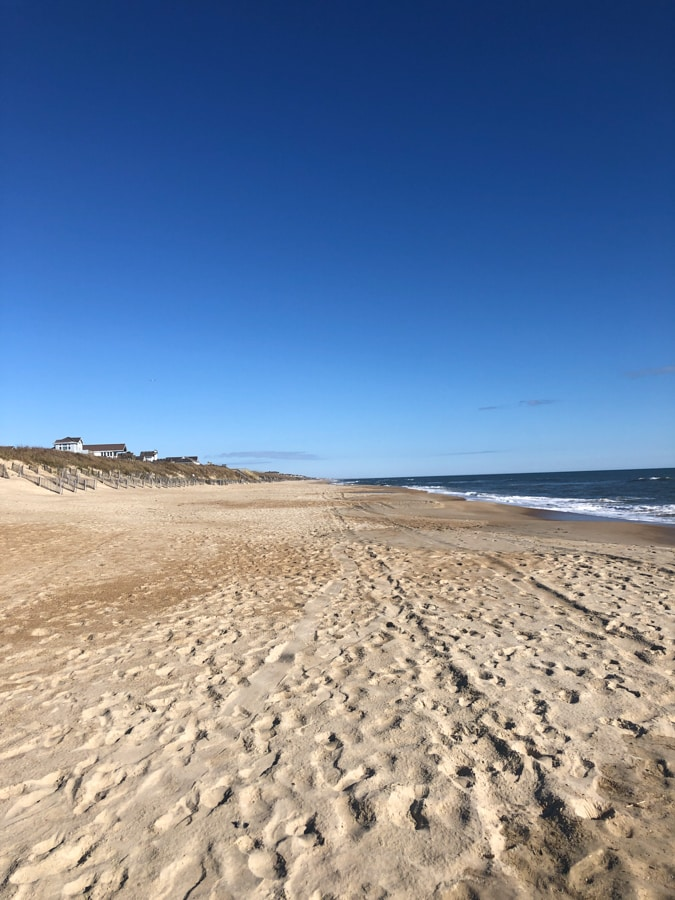 deserted sunny beach in duck NC in march