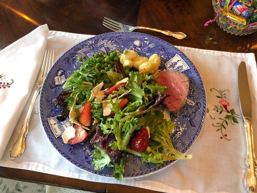 easter dinner - salad, tenderloin, gnocchi