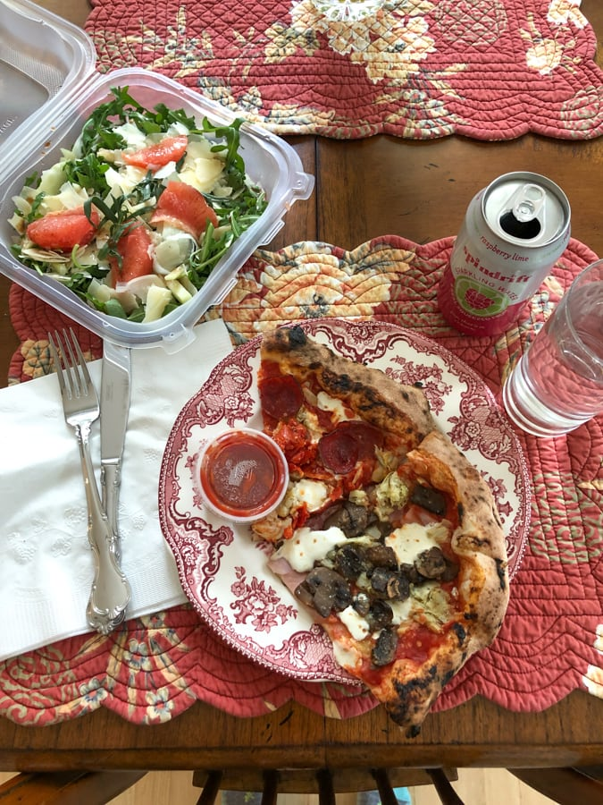pizza from pupatella and salad