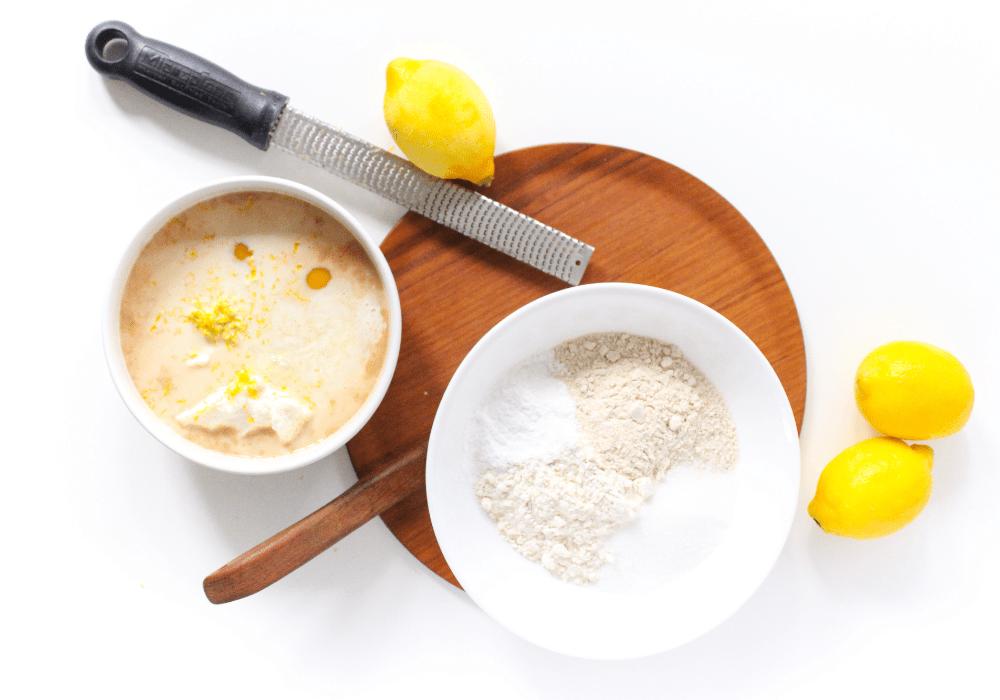 lemon pancake ingredients in a mixing bowl