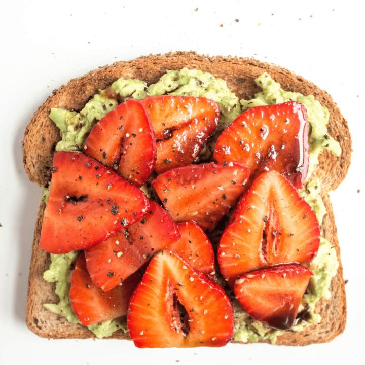 Avocado Strawberry Toast with Balsamic Glaze