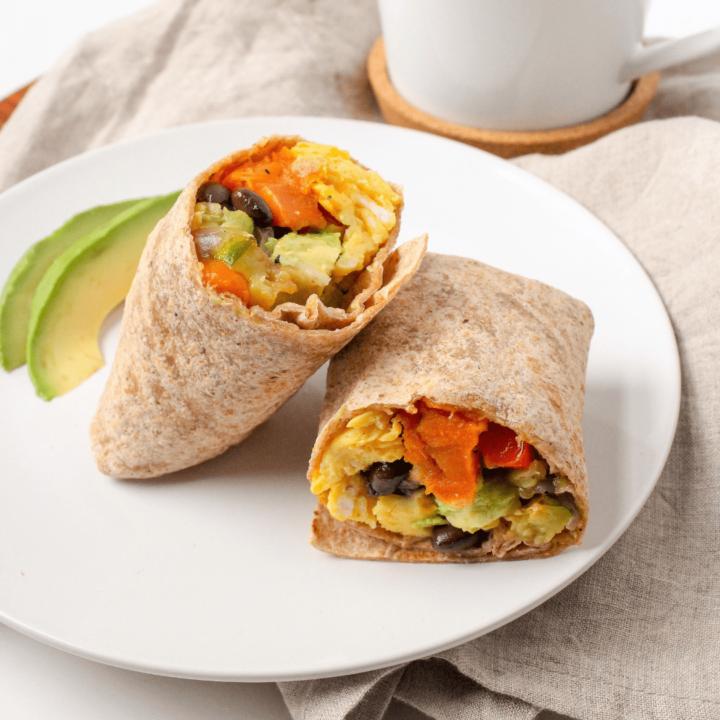 Vegetarian Breakfast Burritos with Sweet Potato