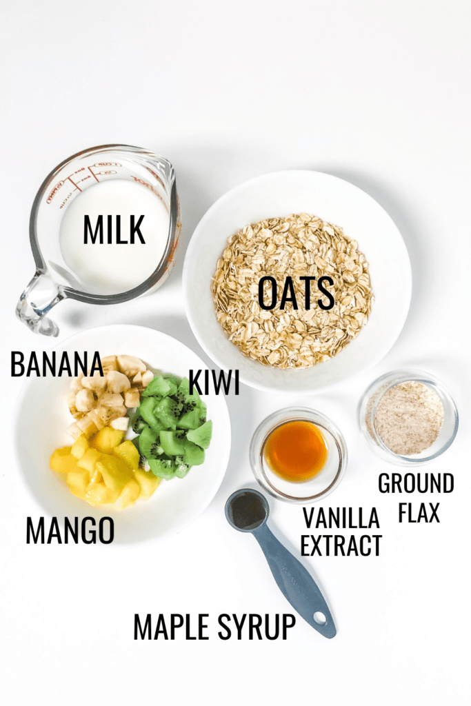 tropical overnight oats ingredients