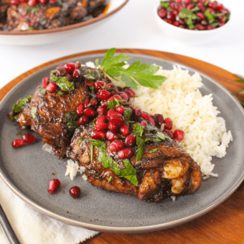 Pan Seared Chicken Thighs with Pomegranate Glaze
