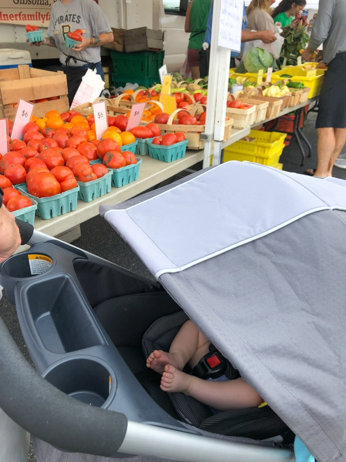 baby at farmer's market