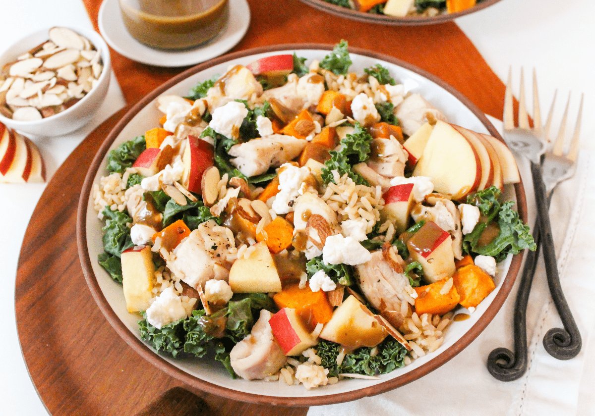chicken and sweet potato harvest bowls