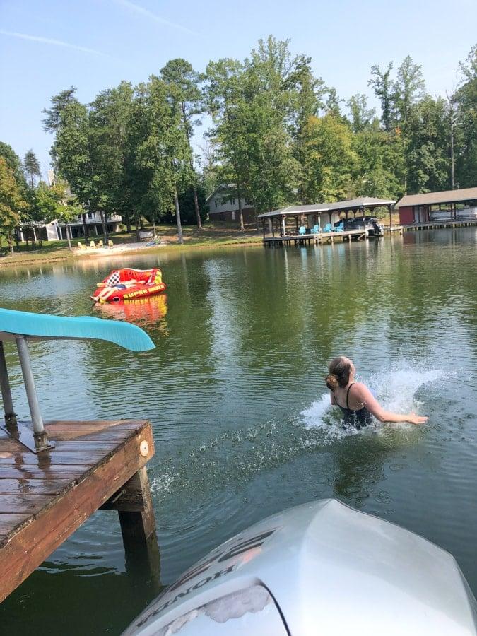 water slide at lake anna