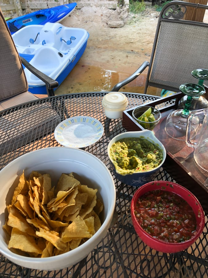 happy hour on the dock with homemade guacamole and chips
