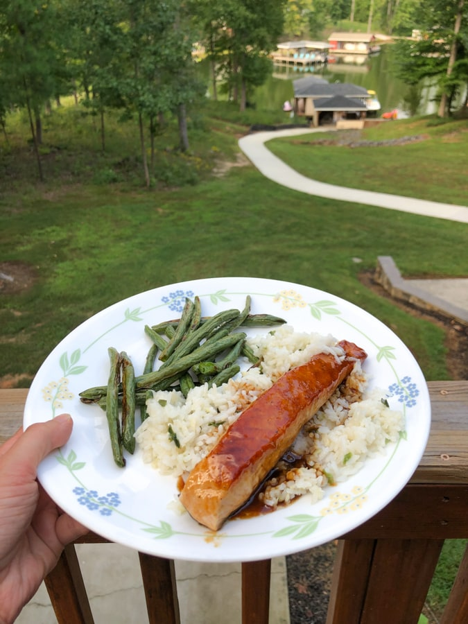 asian salmon with rice and roasted string beans